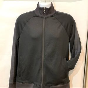 Track jacket in black and charcoal by Goodfellow